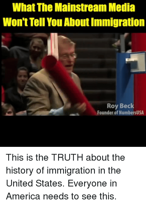 Immigration: What The Mainstream Media  Won't Tell You About Immigration  Roy Beck  Founder of NumbersUSA This is the TRUTH about the history of immigration in the United States. Everyone in America needs to see this.