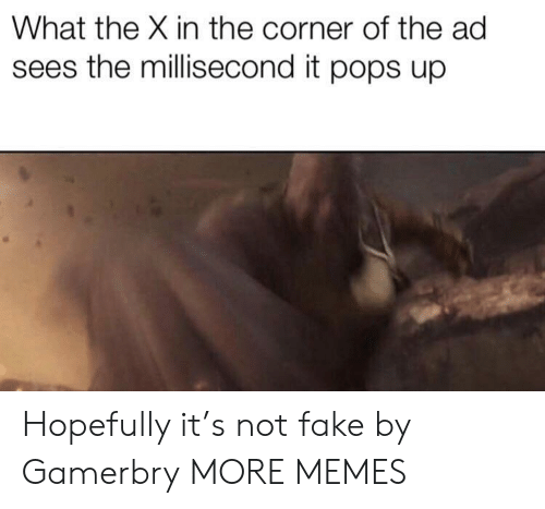 pops: What the X in the corner of the ad  sees the millisecond it pops up Hopefully it's not fake by Gamerbry MORE MEMES