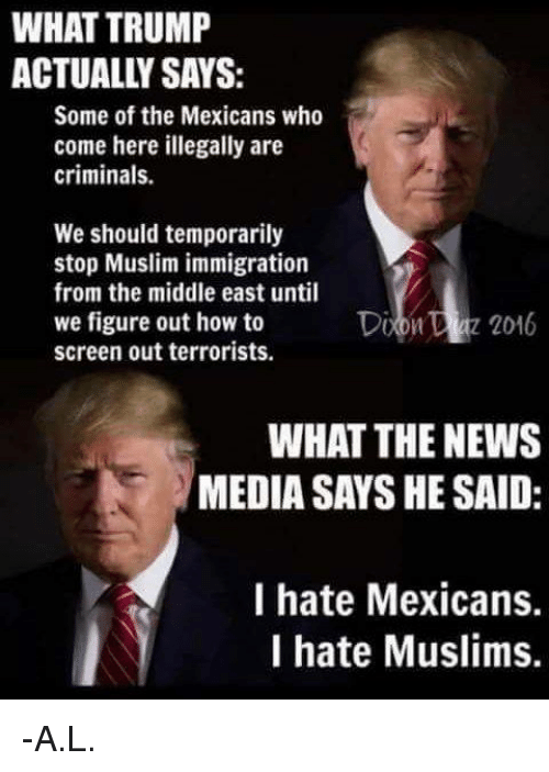 Image result for what trump says what the media says he said