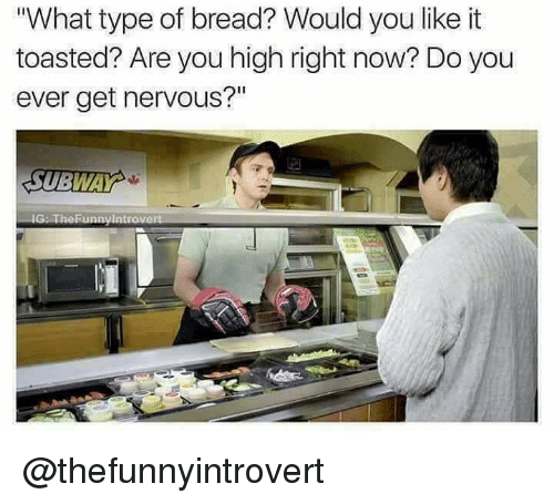 "Dank Memes, Bread, and You: What type of bread? Would you like it  toasted? Are you high right now? Do you  ever get nervous?""  Il @thefunnyintrovert"