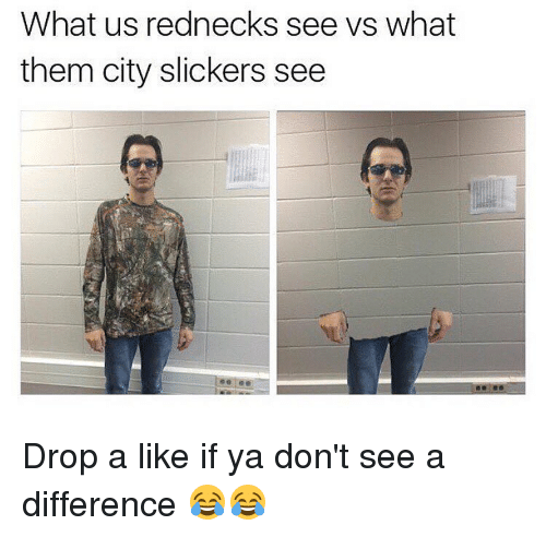 City Slickers: What us rednecks see vs what  them city slickers see Drop a like if ya don't see a difference 😂😂