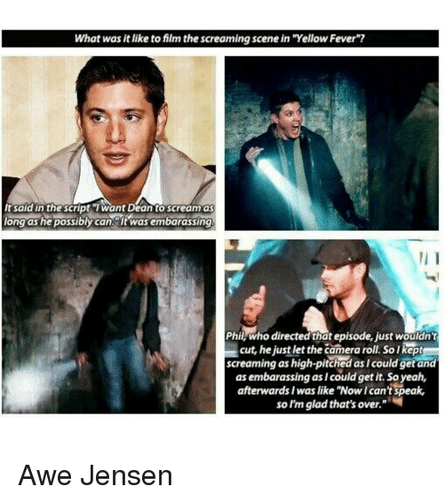 "Memes, 🤖, and Fever: What was it like to film the screaming scene in ""Yellow Fever""?  It said in the script Want Dean to scream as  long as he possibly can it was embarassing,  Phil, who directed thatepisode, justwouldn't  cut, he just let the camera roll, so Ikept  screaming as high-pitched as /could get and  as embarassing as I could get it. So yeah,  afterwards Iwas like ""Nowican't speak,  so I'm glad that's over. Awe Jensen"