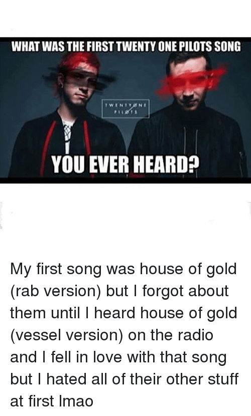 What was the firsttwenty one pilots song you ever heard for First house music song