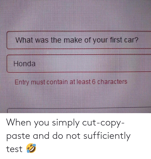 Honda: What was the make of your first car?  Honda  Entry must contain at least 6 characters When you simply cut-copy-paste and do not sufficiently test 🤣