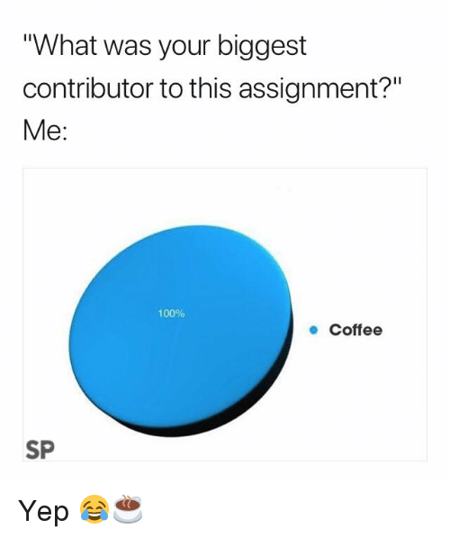 "Anaconda, Coffee, and What: What was your biggest  contributor to this assignment?""  Me:  100%  ● Coffee  SP Yep 😂☕️"