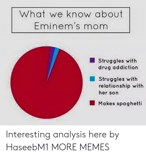 drug addiction: What we know about  Eminem's mom  Struggles with  drug addiction  Struggles with  relationship with  her son  Makes spaghetti Interesting analysis here by HaseebM1 MORE MEMES