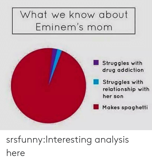 drug addiction: What we know about  Eminem's mom  Struggles with  drug addiction  Struggles with  relationship with  her son  Makes spaghetti srsfunny:Interesting analysis here