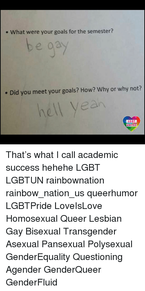 Lesbianic: . What were your goals for the semester?  . Did you meet your goals? How? Why or why not?  hell yeah  LGBT  LGBT  UNITED That's what I call academic success hehehe LGBT LGBTUN rainbownation rainbow_nation_us queerhumor LGBTPride LoveIsLove Homosexual Queer Lesbian Gay Bisexual Transgender Asexual Pansexual Polysexual GenderEquality Questioning Agender GenderQueer GenderFluid