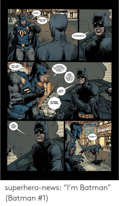 """Yesie: WHAT  WHO ARE  YOU?  I'M BATMAN.  NO...NO.  YOU'RE.  YOU'RE  JUST A MAN...  A MANINA  MASK.  AND  WHAT  S THAT  WHAT I  THAT  YESI  WELL  ALFRED  I'M HERE.  LD  OH  THANK  GOD  ZE  BEER WINES LIOU  PAGHE  WHAT? superhero-news:  """"I'm Batman"""" (Batman #1)"""