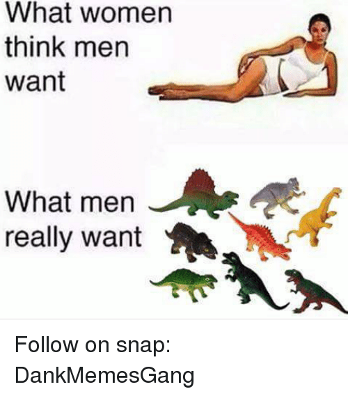 Memes, Women, and 🤖: What women  think men  want  What men  really want Follow on snap: DankMemesGang