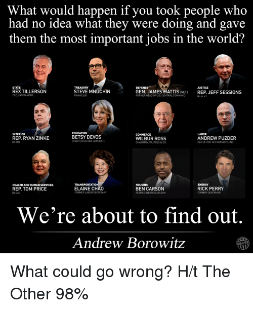 perri: What would happen if you took people who  had no idea what they were doing and gave  them the most important jobs in the world?  DEFENSE  STATE  JUSTICE  REXTILLERSON  STEVE MNUCHIN  GEN. JAMES MATTIS  IRET)  REP JEFF SESSIONS  CEO EXXONMOBIL  FORMERHEAD OF US CENTRAL COMMAND  EDUCATION  INTERIOR  LABOR  COMMERCE  BETSY DEVOS  ANDREW PUZDER  REP. RYAN ZINKE  WILBUR ROSS  CHARTERSCHOOLADVOCATE  CEO OF CKE RESTAURANTS INC  CHAIRMAN WL ROSS& CO  ATI  HOUSING  ENERGY  HEALTHANDHUMAN SERVICES  REP. TOM PRICE  ELAINE CHAO  BEN CARSON  RICK PERRY  FORMERLADORSECRETARY  FORMER GOVERNOR  RETIRED NE  We're about to find out.  Andrew Borowitz What could go wrong?  H/t The Other 98%