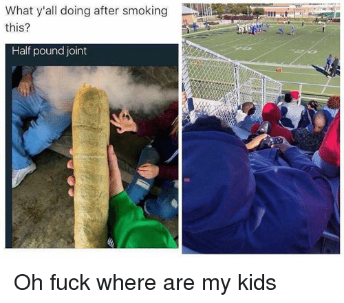 Ironic, Smoking, and Fuck: What y'all doing after smoking  this?  0.p  Half pound joint Oh fuck where are my kids