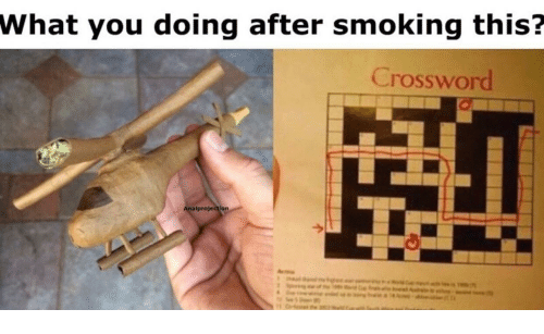 crossword: What you doing after smoking this?  Crossword  Analprojection