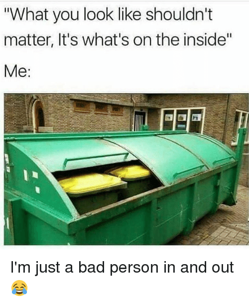 """Bad, Memes, and Bad Person: What you look like shouldn't  matter, It's what's on the inside""""  Me: I'm just a bad person in and out 😂"""