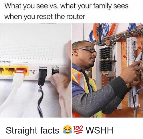 Facts, Family, and Memes: What you see vs. what your family sees  when you reset the router  THERNET  POWER  ON  RESET Straight facts 😂💯 WSHH