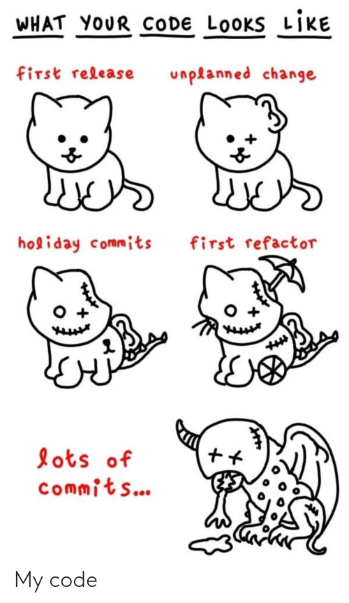 lots: WHAT YOUR CODE LOOKS LIKE  first release  unplanned change  holiday commits  first refactor  lots of  commits... My code