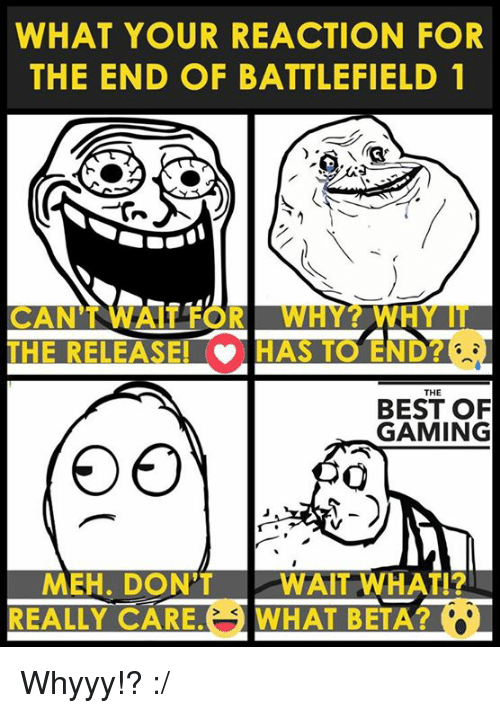 Battlefield: WHAT YOUR REACTION FOR  THE END OF BATTLEFIELD 1  CANT WHAT FOR  W  THE  BEST OF  GAMING  MEH. DON'T  WAIT WHAT I?  REALLY CARE. WHAT BETA Whyyy!? :/