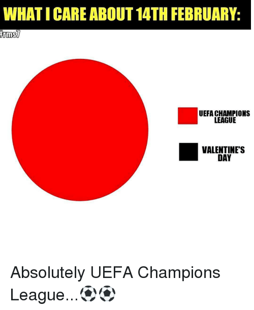 Memes, Uefa Champions League, and 🤖: WHATICARE ABOUT 14TH FEBRUARY:  ArmsU  UEFA CHAMPIONS  LEAGUE  VALENTINE'S  DAY Absolutely UEFA Champions League...⚽⚽