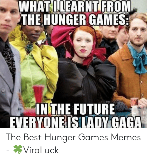 Hunger Games Meme: WHATILEARNT FROM  THE HUNGER GAMES  IN THE FUTURE  EVERYONEISLADY GAGA The Best Hunger Games Memes - 🍀ViraLuck