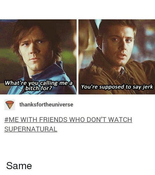 watch supernatural: What're you calling me a  You're supposed to say jerk  bitch for?  thanks fortheuniverse  #ME WITH FRIENDS WHO DON'T WATCH  SUPERNATURAL Same