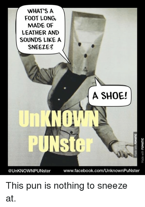 Facebook, Memes, and Puns: WHAT'S A  FOOT LONG,  MADE OF  LEATHER AND  SOUNDS LIKE A  SNEEZE  A SHOE!  UNKNOWN  PUNSter  www.facebook.com/UnknownPuNster  @UnKNOWNPUNster This pun is nothing to sneeze at.