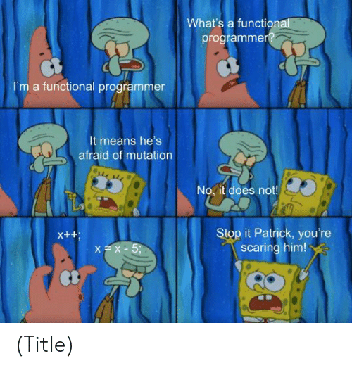 whats a: What's a functional  programmer?  I'm a functional programmer  It means he's  afraid of mutation  No, it does not!  Stop it Patrick, you're  scaring him!  X++  XX-5; (Title)
