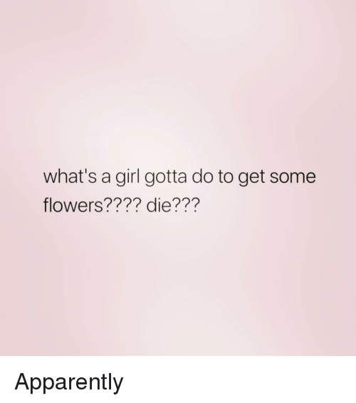 Apparently, Flowers, and Girl: what's a girl gotta do to get some  flowers???? die??? Apparently