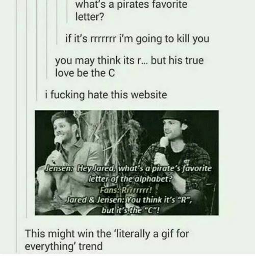 """Gif For Everything: What's a pirates favorite  letter?  if it's rrrrrrr i'm going to kill you  you may think its r... but his true  love be the C  i fucking hate this website  Jensen: Hey ared, what's a pirate's favorite  letter of the alphabet?  Fans. Rrrrrrrr!  Jared & Jensen: You think it's  R  but it's the C""""!  This might win the literally a gif for  everything' trend"""