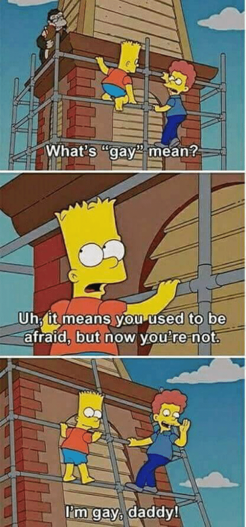 Be Afraid: What's gay mean?  Uh, it means you used to be  afraid, but now you're not.  Pm gay, daddy!