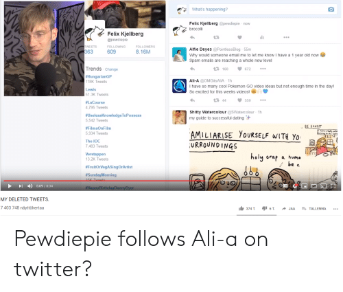 brocolli: What's happening?  Felix Kjellberg @pewdiepie now  brocolli  Felix Kjellberg  @pewdiepie  TWE ETS  363  FOLLOWING  FOLLOWERS  Alfie Deyes @Pointless Blog 55m  609  8.16M  Why would someone email me to let me know I have a 1 year old now  Spam emails are reaching a whole new level  Trends Change  t 160  672  #HungarianGP  118K Tweets  Ali-A @OMGitsAliA 1h  I have so many cool Pokemon GO video ideas but not enough time in the day!  Lewis  So excited for this weeks videos!  51.3K Tweets  t 44  559  #LaCourse  4,795 Tweets  Shitty Watercolour @SWaterc olour 1h  #UselessKnowledgeToPossess  5,542 Tweets  my guide to successful dating  BE HONEST  #FilmsOnFilm  AMILIARISE YOURSELF WITH YO  URROUNDINGS  5,934 Tweets  The IOC  7,483 Tweets  Verstappen  13.2K Tweets  holy crap  a huma  be c  #FruitOrVegASingOrArtist  #SundayMorning  16K Twoots  O JO  5:09/8:34  #HappyBirthdayDannyDyer  MY DELETED TWEETS.  7 403 748 näyttökertaa  374 T.  6 T  E TALLENNA  JAA Pewdiepie follows Ali-a on twitter?
