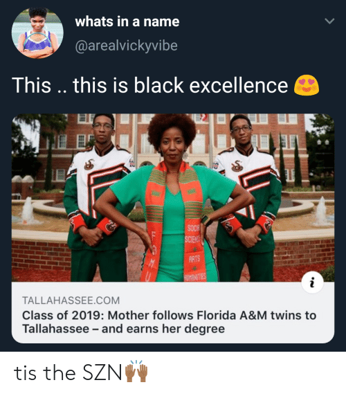 Excellence: whats in a name  (@arealvickyvibe  This .. this is black excellence  ARTS  MNITIES  TALLAHASSEE.COM  Class of 2019: Mother follows Florida A&M twins to  Tallahassee and earns her degree tis the SZN🙌🏾