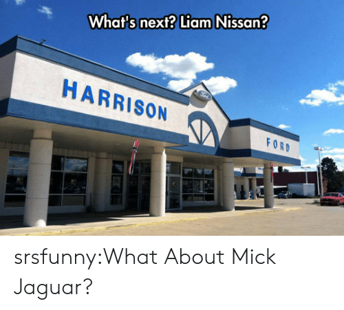 mick: What's next? Liam Nissan  HARRISON  FOR srsfunny:What About Mick Jaguar?