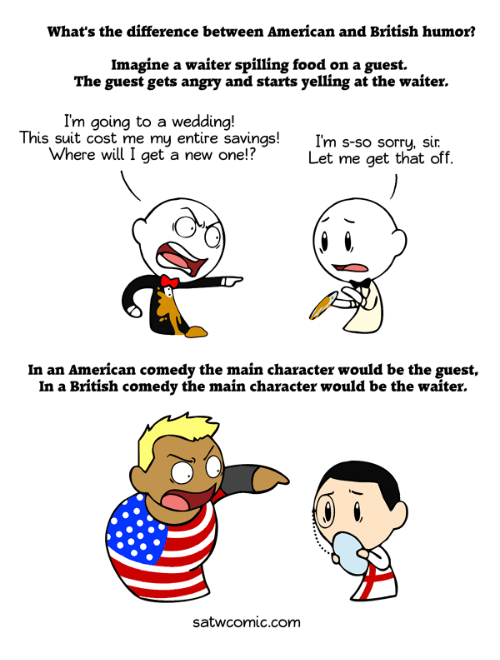 the difference between american and british humor British humor is very much different from american humor, and often goes over the heads of the american audience this isn't because americans aren't intelligent enough to get the joke, but because americans are not nearly as used to being subtle with their humor.
