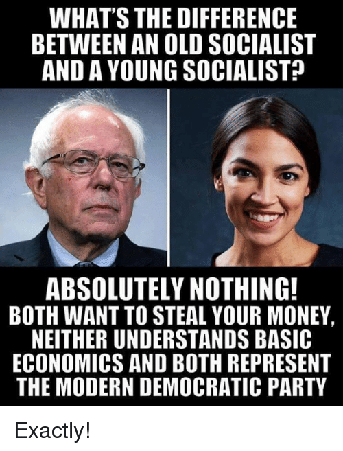 Memes, Money, and Party: WHAT'S THE DIFFERENCE  BETWEEN AN OLD SOCIALIST  AND A YOUNG SOCIALIST  ABSOLUTELY NOTHING!  BOTH WANT TO STEAL YOUR MONEY  NEITHER UNDERSTANDS BASIC  ECONOMICS AND BOTH REPRESENT  THE MODERN DEMOCRATIC PARTY Exactly!