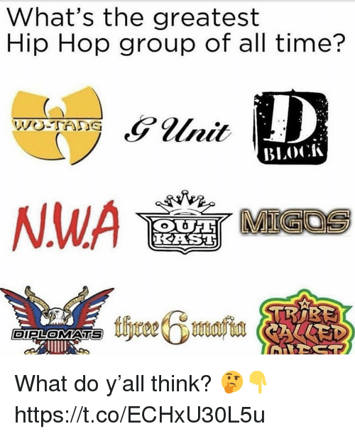 Time, Hip Hop, and Group: What's the greatest  Hip Hop group of all time?  BLOCK  KES  DIPLOMATS What do y'all think? 🤔👇 https://t.co/ECHxU30L5u