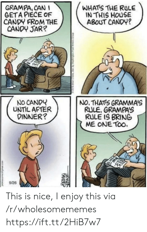 No Thats: WHATS THE RULE  IN THIS HOUSE  ABOUT CANDY?  GRAMPA, CAN I  GETA PIECE OF  CANDY FROM THE  CANDY JAR?  NO CANDY  UNTIL AFTER  DINNER?  NO. THATS GRAMMA'S  RULE, GRAMPAS  RULE IS BRING  ME ONE TOo.  9/26  CANE This is nice, I enjoy this via /r/wholesomememes https://ift.tt/2HiB7w7