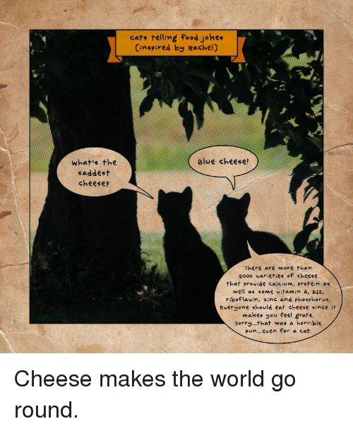 Cats, Food, and Protein: what's the  saddest  cheese?  cats telling food jokes  (inspired by Rachel)  Blue cheese!  There are more than  20oo varieties of cheese  that provide calcium, protein as  well as some vitamin A, B12,  riboflavin, zinc and phosphorus.  Everyone should eat cheese since it  makes you feel grate  5orry...that was a horrible  pun... even for a cat. Cheese makes the world go round.