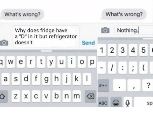 """Whats Wrong Nothing: What's wrong?  What's wrong?  Nothing  Why does fridge have  a """"D"""" in it but refrigerator  doesn't  Send  1 2 3 4 5  wertyuiop  a s d f g hjk  2  ABC  sp"""