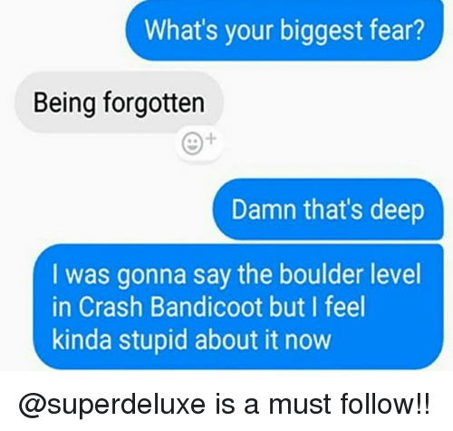 Crash Bandicoot, Memes, and Fear: What's your biggest fear?  Being forgotten  Damn that's deep  I was gonna say the boulder level  in Crash Bandicoot but I feel  kinda stupid about it now @superdeluxe is a must follow!!