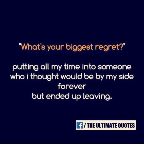 my biggest regret By: stacy rapacon i may write a lot about personal finance, but it wasn't until about eight years ago that i made my first wise, budget-driven decision ever—which also turned out to be the biggest regret of my life.