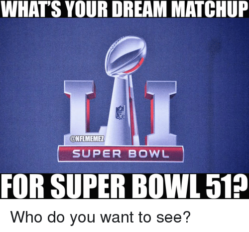 Meme, Memes, and Nfl: WHAT'S YOUR DREAM MATCHUP  @NFL MEME!  SUPER BOWL  FOR SUPER BOWL 512 Who do you want to see?