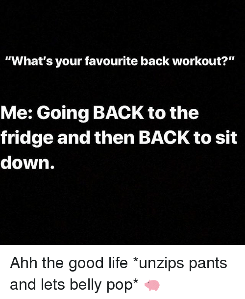 "Gym, Life, and Pop: ""What's your favourite back workout?""  Me: Going BACK to the  fridge and then BACK to sit  down. Ahh the good life *unzips pants and lets belly pop* 🐖"