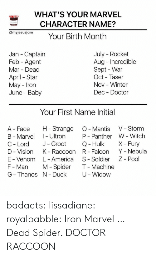 falcon: WHAT'S YOUR MARVEL  CHARACTER NAME?  OmyjesusjamYour Birth Month  July - Rocket  Aug Incredible  Sept - War  Oct - Taser  Nov -Winter  Dec Doctor  Jan - Captain  Feb - Agent  Mar Dead  April Star  May Irorn  June - Baby  Your First Name Initial  A Face H Strange O Mantis V - Storm  B - Marvel I - Ultron  C - Lord J- Groot  D - Vision K Raccoon R Falcon Y - Nebula  E - Venom L- America S- Soldier Z - Pool  F - Man M Spider T Machine  G - Thanos N Duck  W - Witch  X- Fury  P - Panther  Q- Hulk  U -Widow badacts:  lissadiane: royalbabble: Iron Marvel  … Dead Spider.   DOCTOR RACCOON