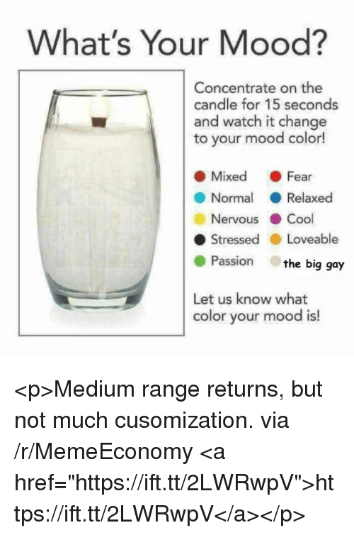 """Mood, Cool, and Watch: What's Your Mood?  Concentrate on the  candle for 15 seconds  and watch it change  to your mood color!  ● Mixed . Fear  ● Normal ( Relaxed  Nervous . Cool  ● Stressed . Loveable  Passion the big gay  Let us know what  color your mood is! <p>Medium range returns, but not much cusomization. via /r/MemeEconomy <a href=""""https://ift.tt/2LWRwpV"""">https://ift.tt/2LWRwpV</a></p>"""