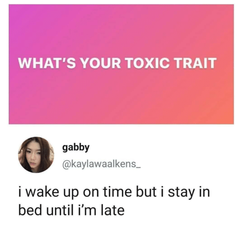 Stay In Bed: WHAT'S YOUR TOXIC TRAIT  gabby  @kaylawaalkens  i wake up on time but i stay in  bed until i'm late