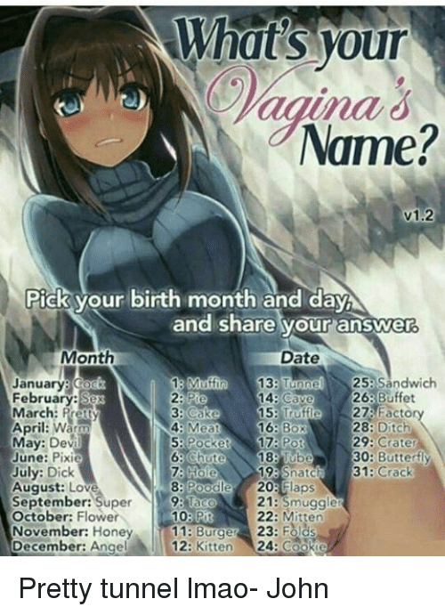 what 39 s your vagina name v12 pick your birth month and daya and share your answer month date 25. Black Bedroom Furniture Sets. Home Design Ideas