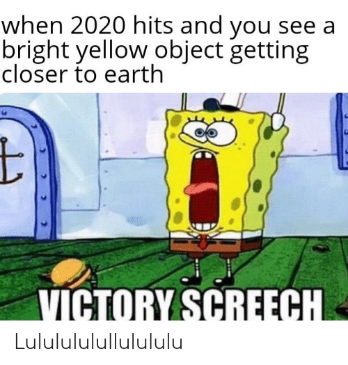victory screech: when 2020 hits and you see a  bright yellow object getting  closer to earth  VICTORY SCREECH Lululululullulululu