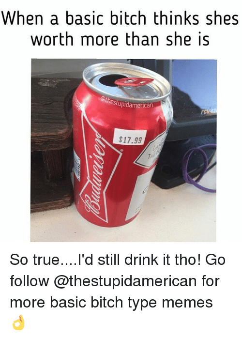 Typing Meme: When a basic bitch thinks shes  worth more than she is  estupidamerican  $17.99 So true....I'd still drink it tho! Go follow @thestupidamerican for more basic bitch type memes 👌