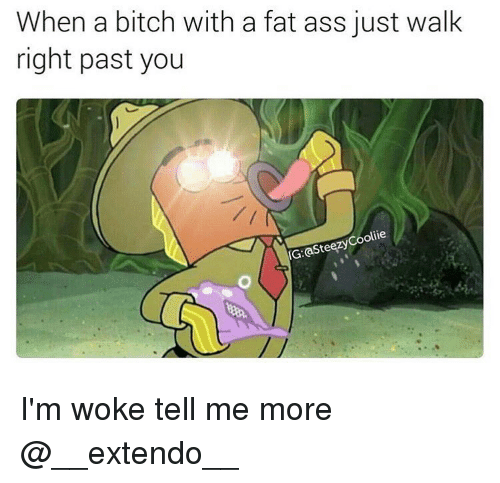 Fat Ass, Memes, and 🤖: When a bitch with a fat ass just walk  right past you  olie  asteezy IG: I'm woke tell me more @__extendo__