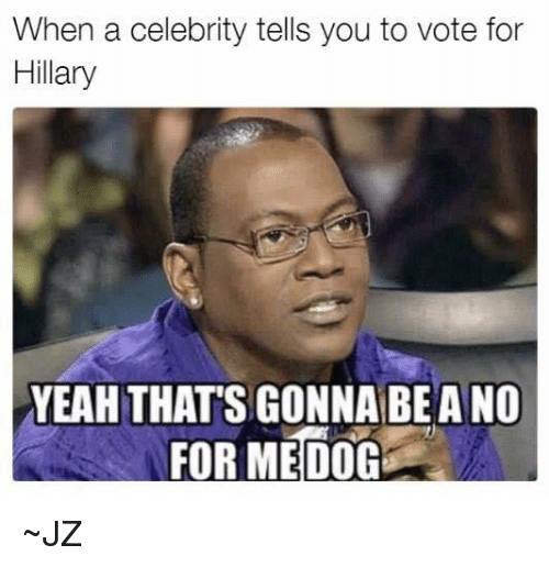 Thats Gonna Be A No: When a celebrity tells you to vote for  Hillary  YEAH THATS GONNA BE A NO  FOR ME DOG ~JZ